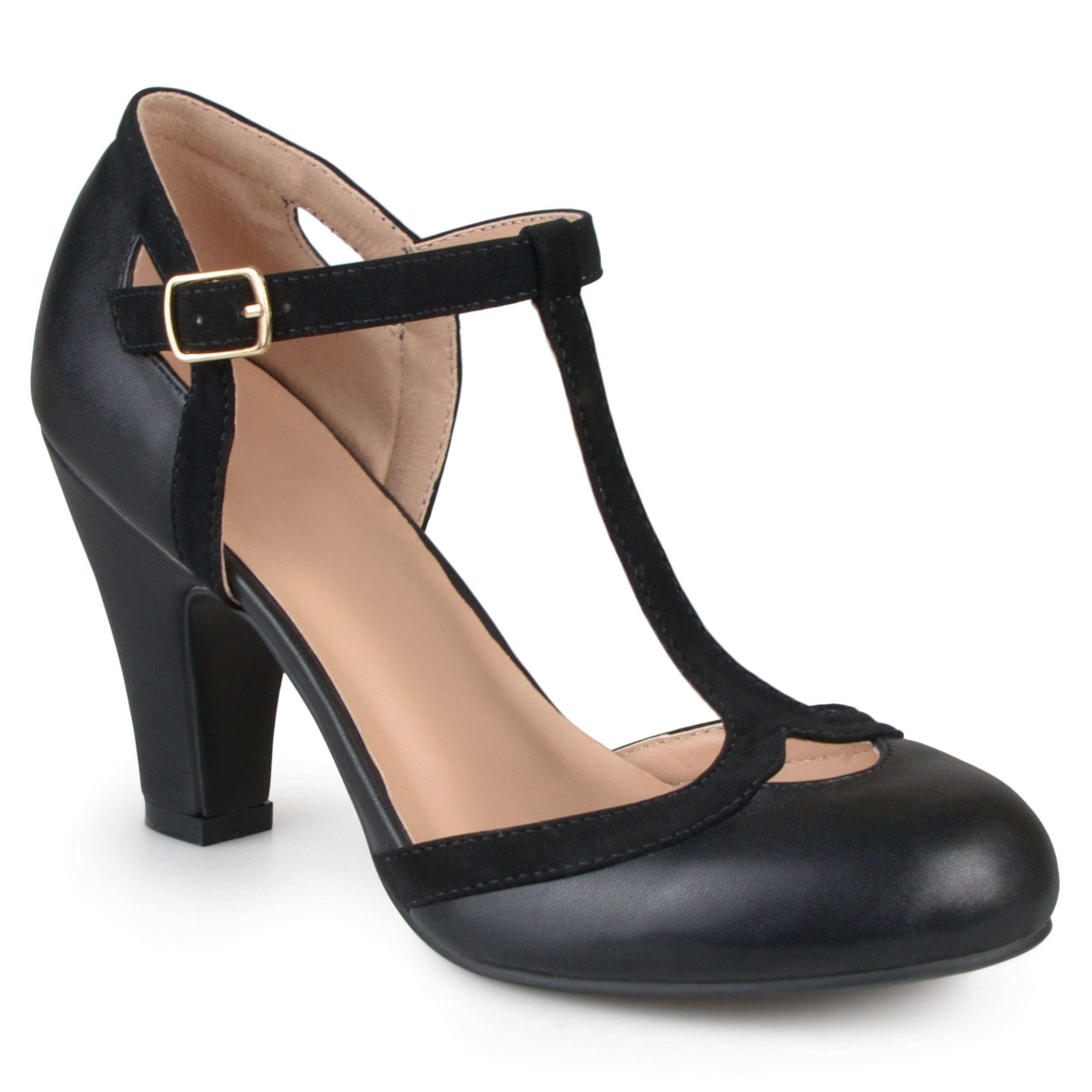 d84b2dd86fd7 Journee Collection Women s  Olina  T-strap Round Toe Mary Jane Pumps  (Black- 8)