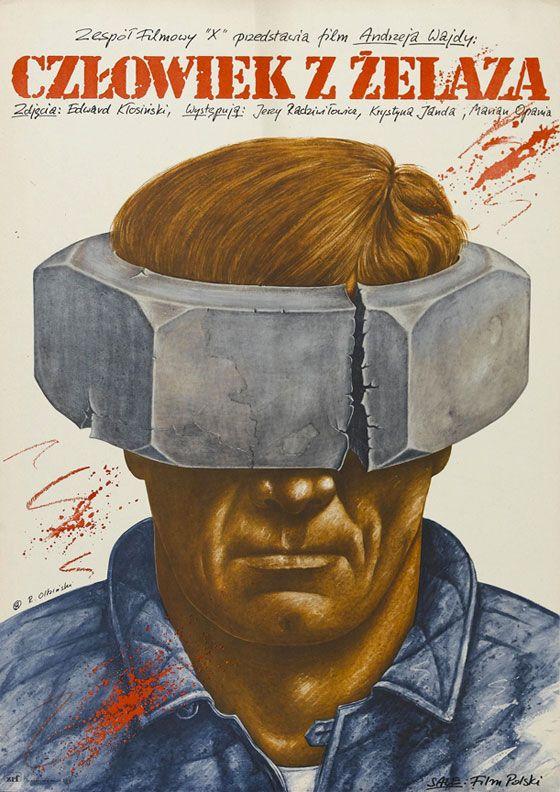 Polish poster for MAN OF IRON (Andrzej Wajda, Poland, 1981) Artist: Rafal Olbinski (b. 1945) Poster source: MovieposterDB
