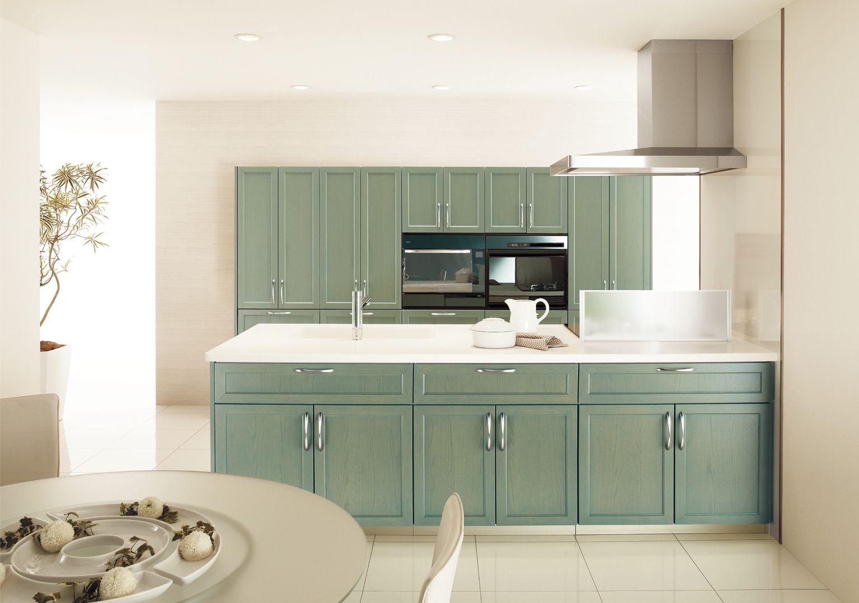トクラスキッチン スクエアタイプ クラフトオーク グリーンオーク 框扉 インテリア 家具 キッチンインテリアデザイン キッチン 食器棚