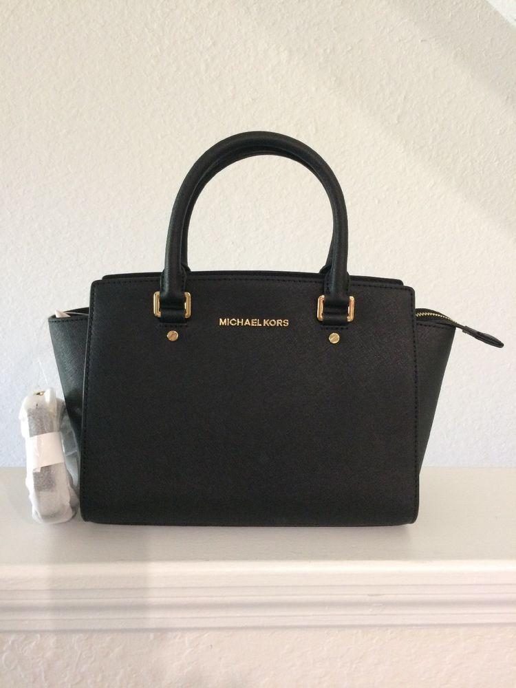 59d23e29f83f MICHAEL Kors Selma Medium Saffiano Leather Satchel Bag Purse BLACK Gold   fashion  clothing