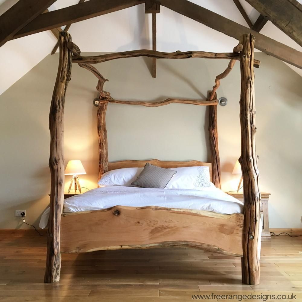 Rustic oak four poster tree bed beautiful chunky wooden bed frame solid oak tree bed wooden Wooden bed furniture