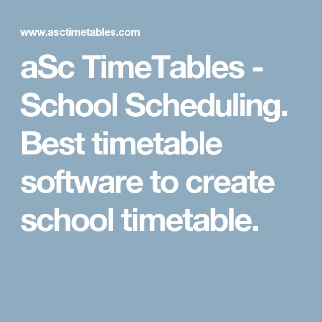 create school schedule