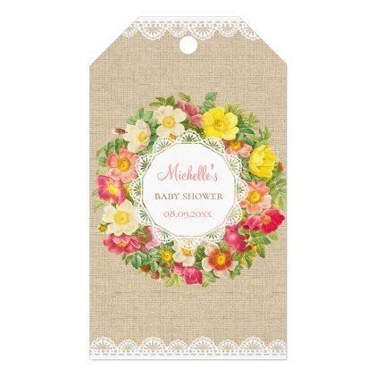 Vintage floral baby shower or birthday gift tag floral style vintage floral baby shower or birthday gift tag floral style flower flowers stylish diy personalize negle Gallery