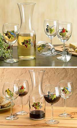 WINE GLASSES & CARAFE ~ Toast the end of a good day with our unique stemware sporting elegant, full-color songbird and grapes designs by Rosemary Millette. | www.wildwings.com