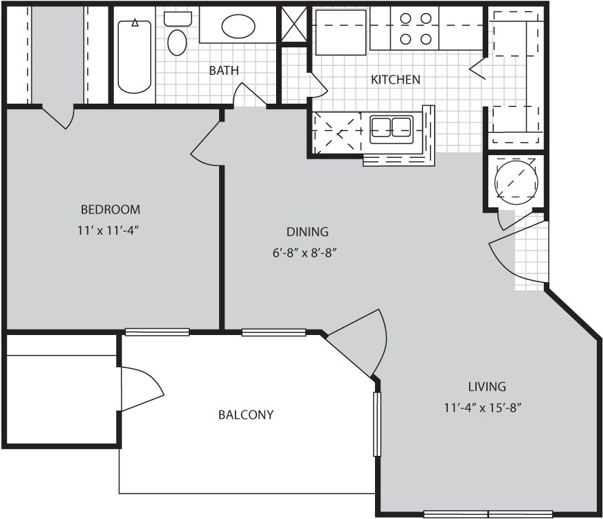 A2 Floor Plan :: 620 Sq Ft.1 Bed / 1 Bath
