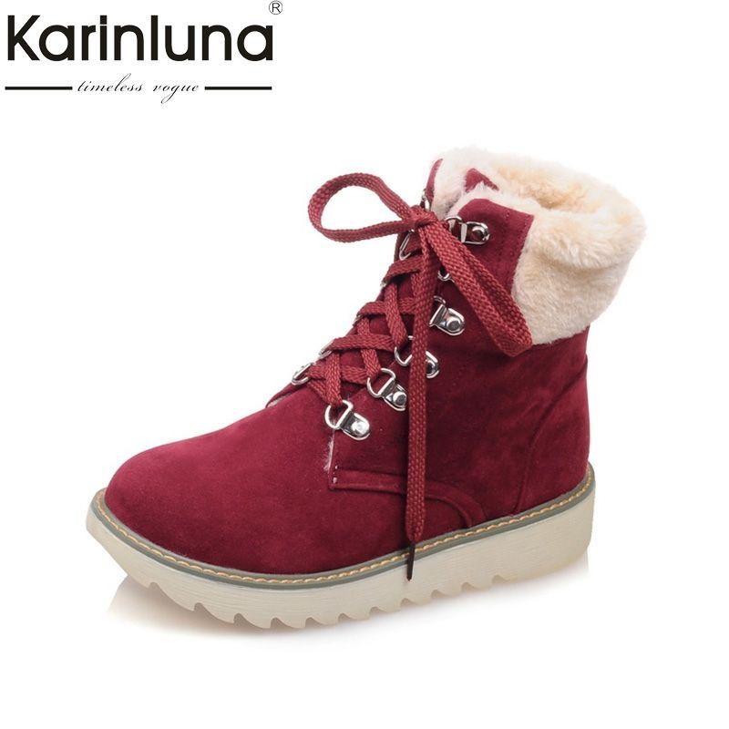 267915384f55 Fur · KARINLUNA 2017 large size 33-43 flat heels women shoes woman leisure warm  fur snow