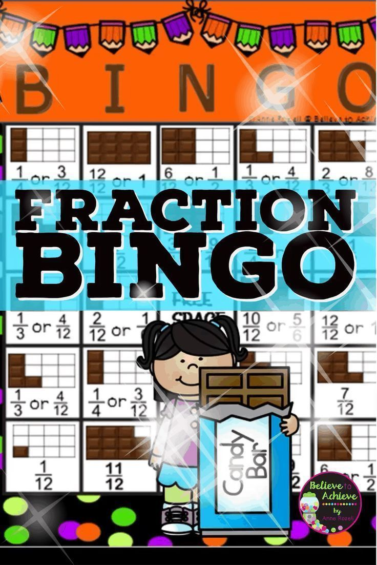 Fraction Bingo This is a colorful set of Fraction Bingo cards with ...