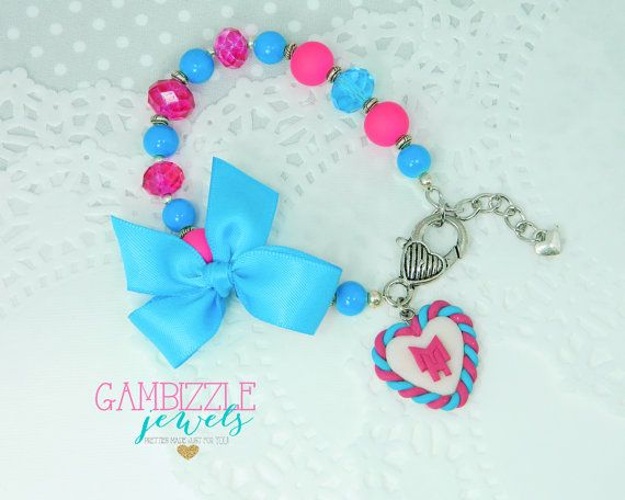 Monster high MH Inspired bracelet hot pink and by GambizzleJewels