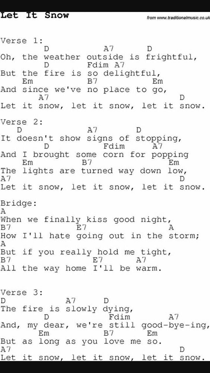 Let it snow Song let it snow song chords Christmas