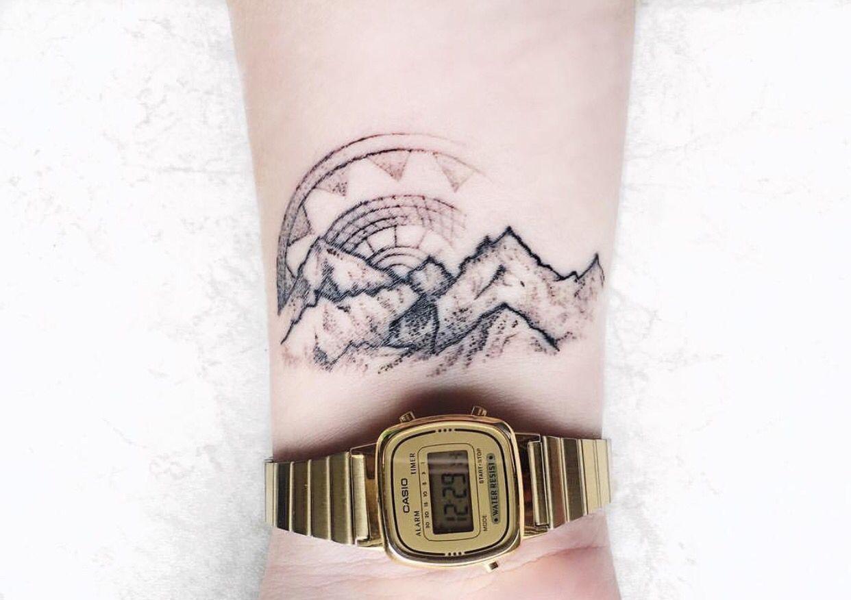 #tattoo #armtattoo #mountain #mountainrange #mountaintattoo #mountainrangetattoo #nature #naturetattoo #sun #suntattoo #mandala #mandalatattoo #girlytattoo #wristtattoo #wrist #tiny #tinytattoo #casio #casiowatch #casioretro #gold #retro #white #whitetheme #inked #dotwork