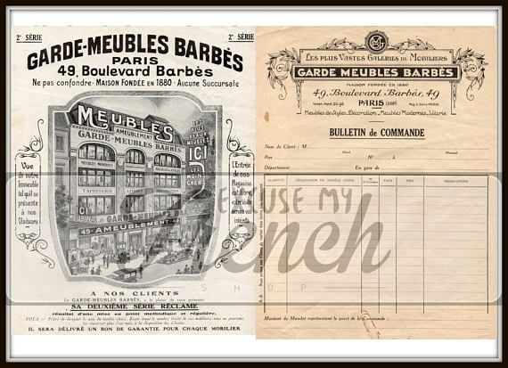 Vintage Digital Download Paris Shop Illustration  Order Form