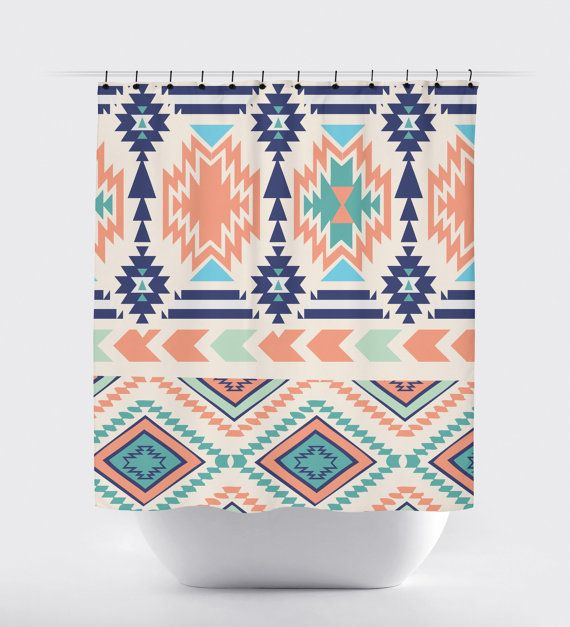 Coral Mint And Blue Aztec Modern Shower Curtain Aztec Fabric