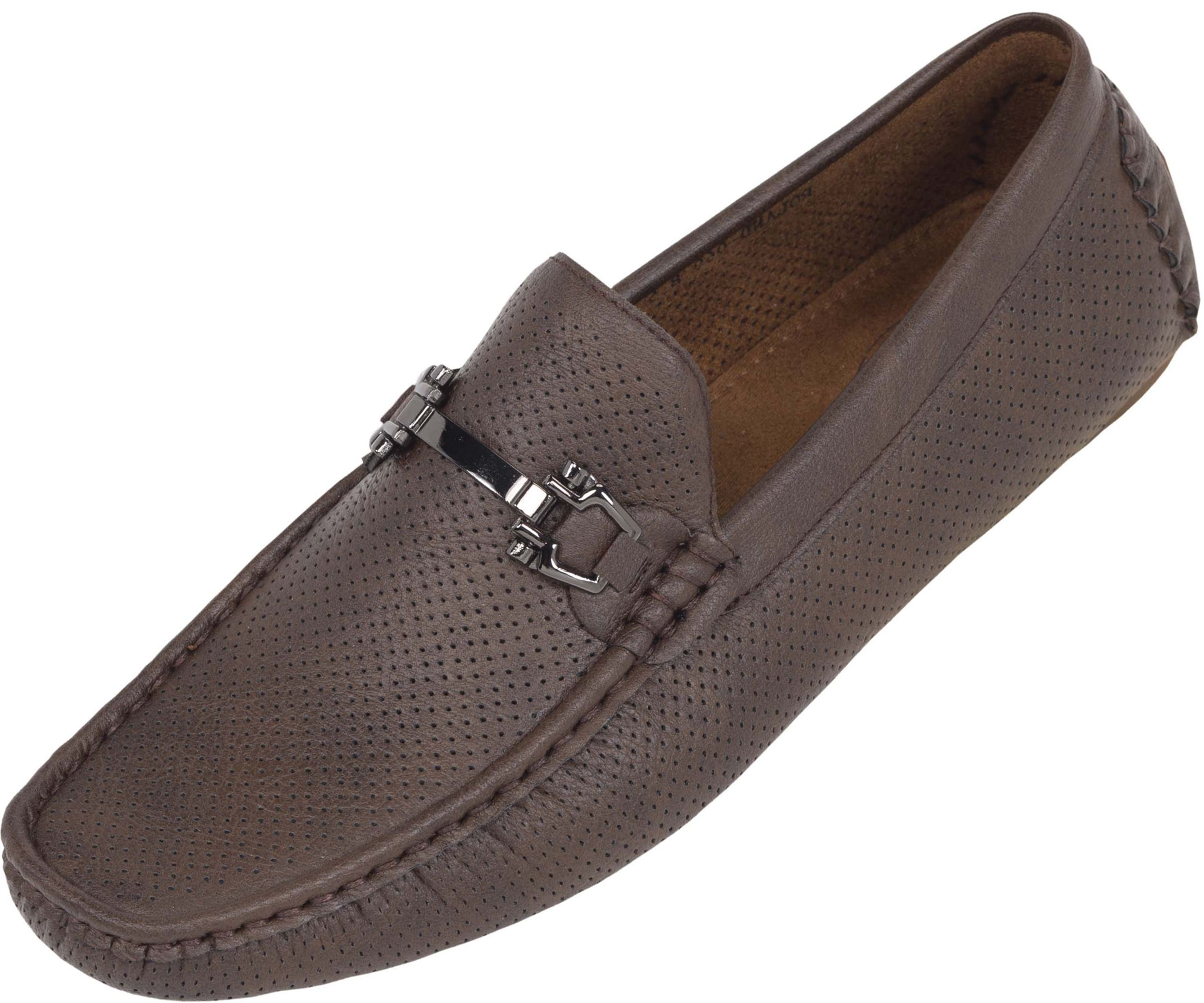 Mens Dress Moccasins Smooth Leather Perforated Breathable Driving Casual Loafers Shoes