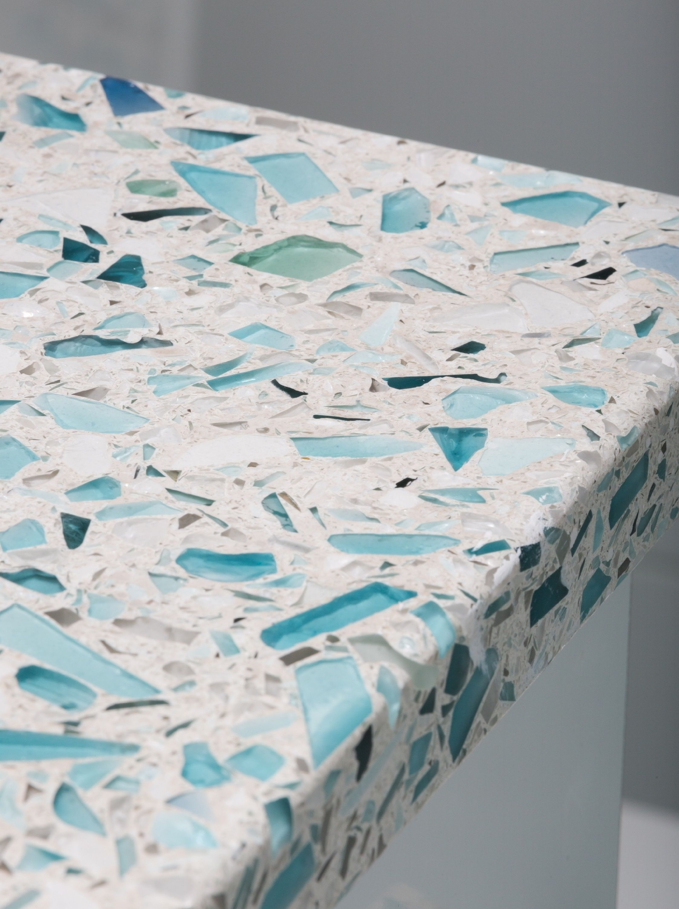 recycled glass kitchen countertops beveled tiles crushed countertop vetrazzo floating blue sea pearl