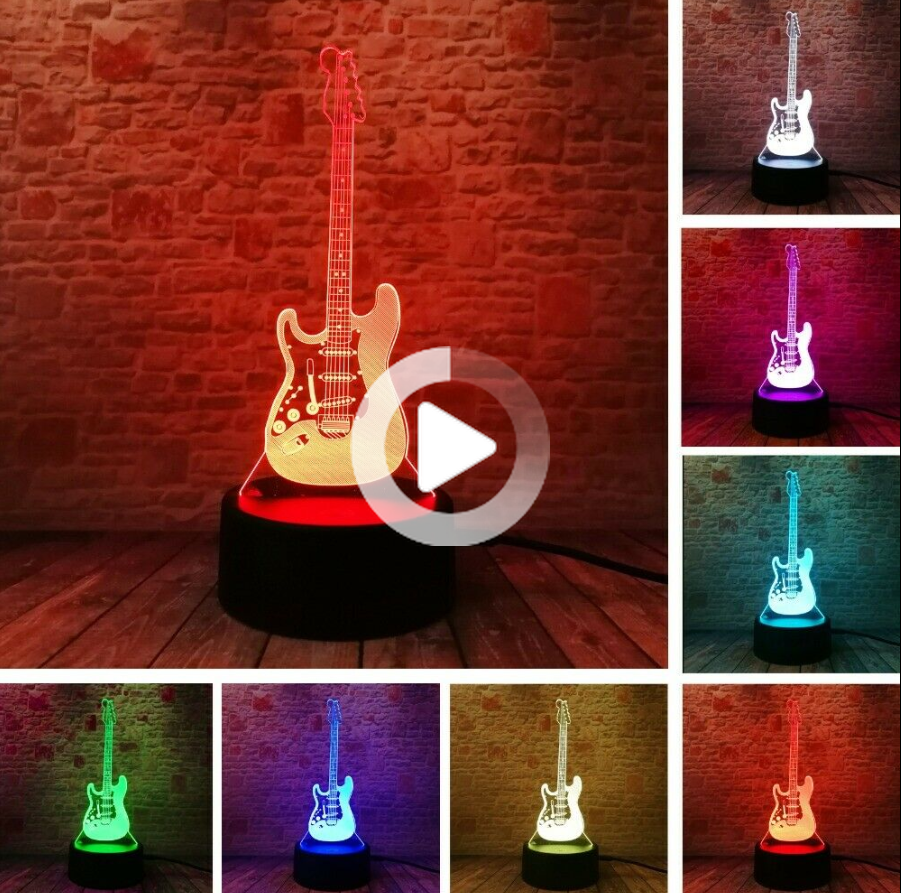 Pin By Audiolangauges On Cool 3d Night Lights Night Light Guitar Lamp 3d Night Light