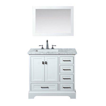 Newport White 36 Inch Single Sink Bathroom Vanity With Mirror Size