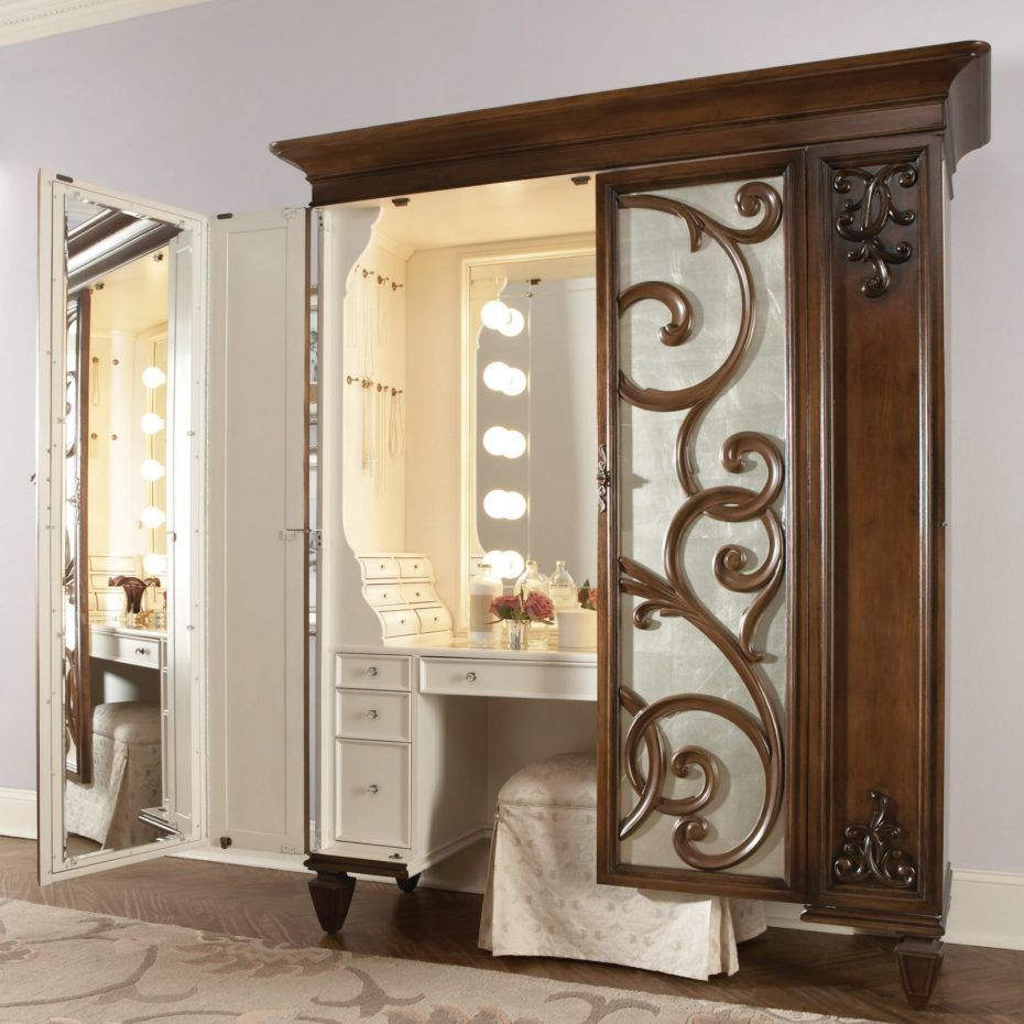 Brown And White Wooden Bedroom Vanity With Lights And Mirror ...