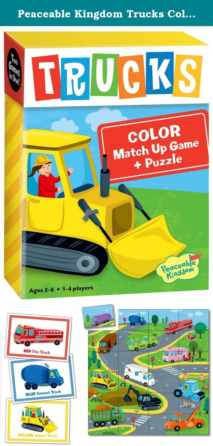 Peaceable Kingdom Trucks Color Match Up Memory Game and