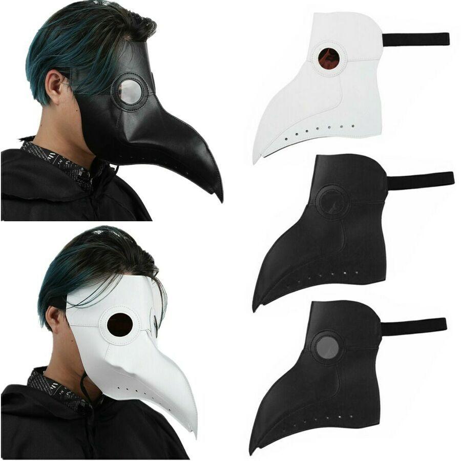 Plague Doctor Mask Birds Long Nose Beak PU Leather Steampunk Halloween Cosplay