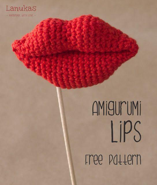 """Lips are the fingerprints of love."" -- free pattern alert! In Spanish AND English! Woot! Amigurumi lips! #crochet"