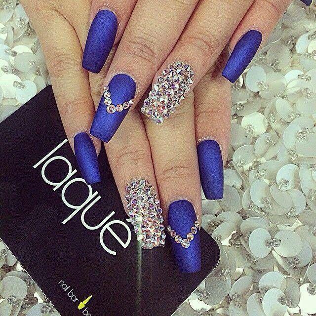 Unas Decoradas Color Azul Unas Nails Nail Designs Nail Art