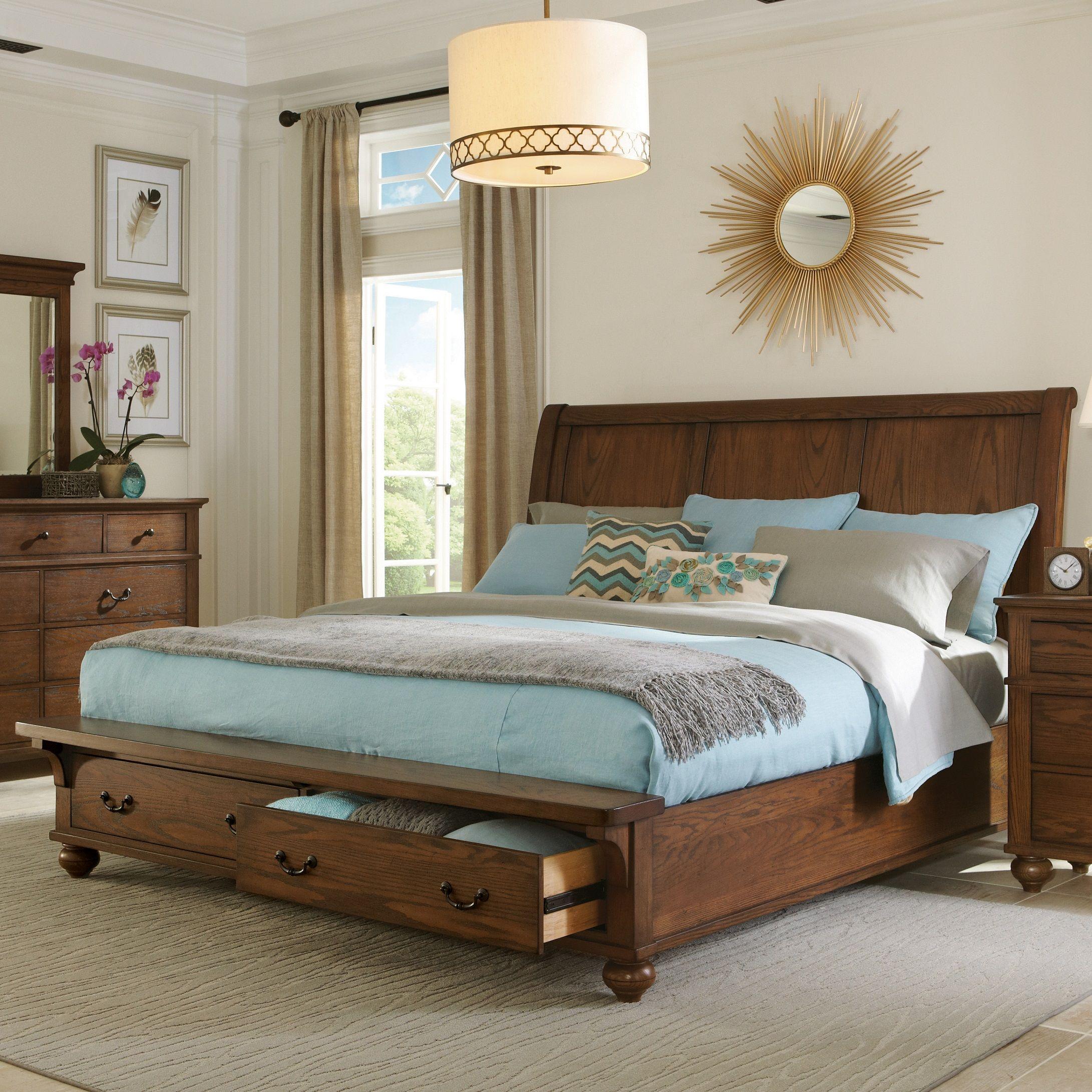 Oakmont Heartland Oak California King Sleigh Storage Bed