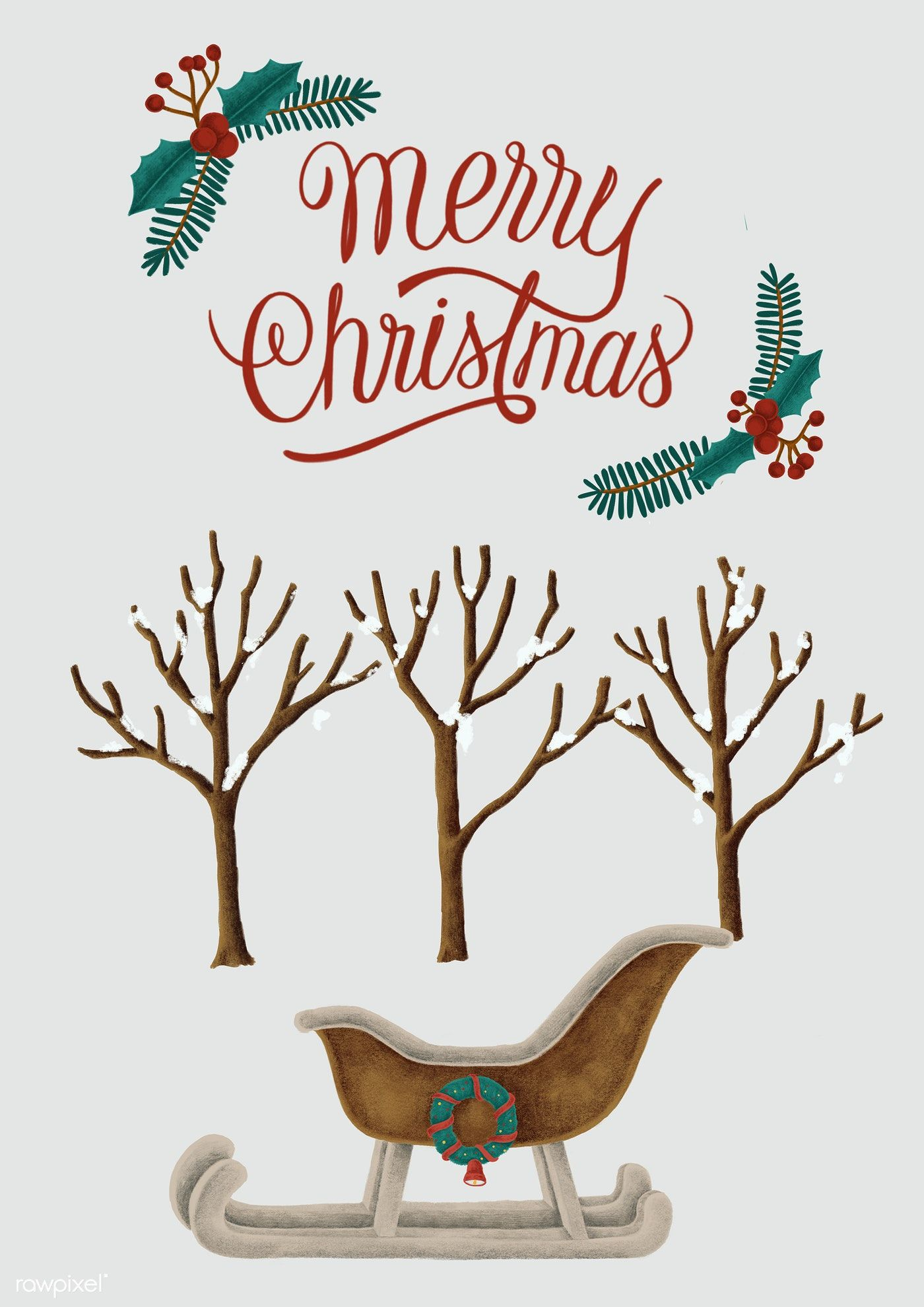 Download premium illustration of Merry Christmas hand