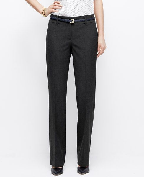 """Really need to replace my dark gray pants for work. Perfectly proportioned, expertly detailed and simply seasonless, this trouser leg pair is made with our endlessly flattering all-season stretch fabric. Sits just below the natural waist. Our most relaxed fit, relaxed through the hip, thigh and back. Contoured curtain waistband offers extra tailoring detail for a better fit. Front zip with double hook-and-bar closure. Belt loops. Front off-seam pockets. Back besom pockets. 30"""" inseam."""