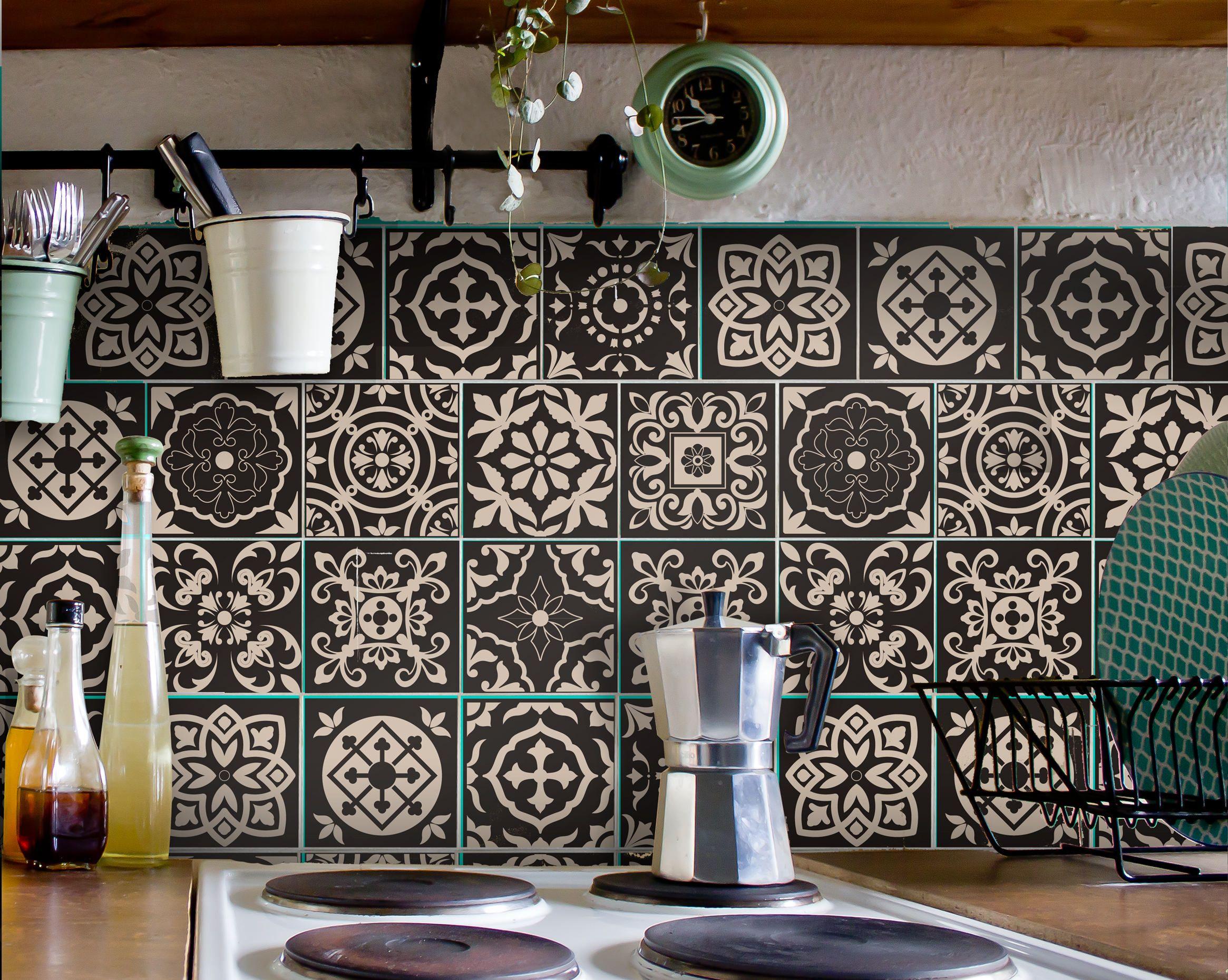 Küchenkacheln überkleben tile decals carrelage stickers kitchen bathroom portuguese set 12