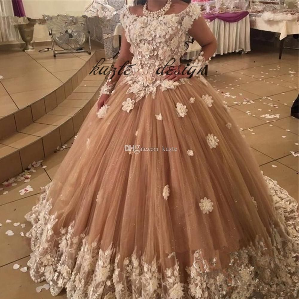 Lace wedding dress champagne  Ball Gown Champagne Long Sleeve Princess Castle Wedding Dresses with