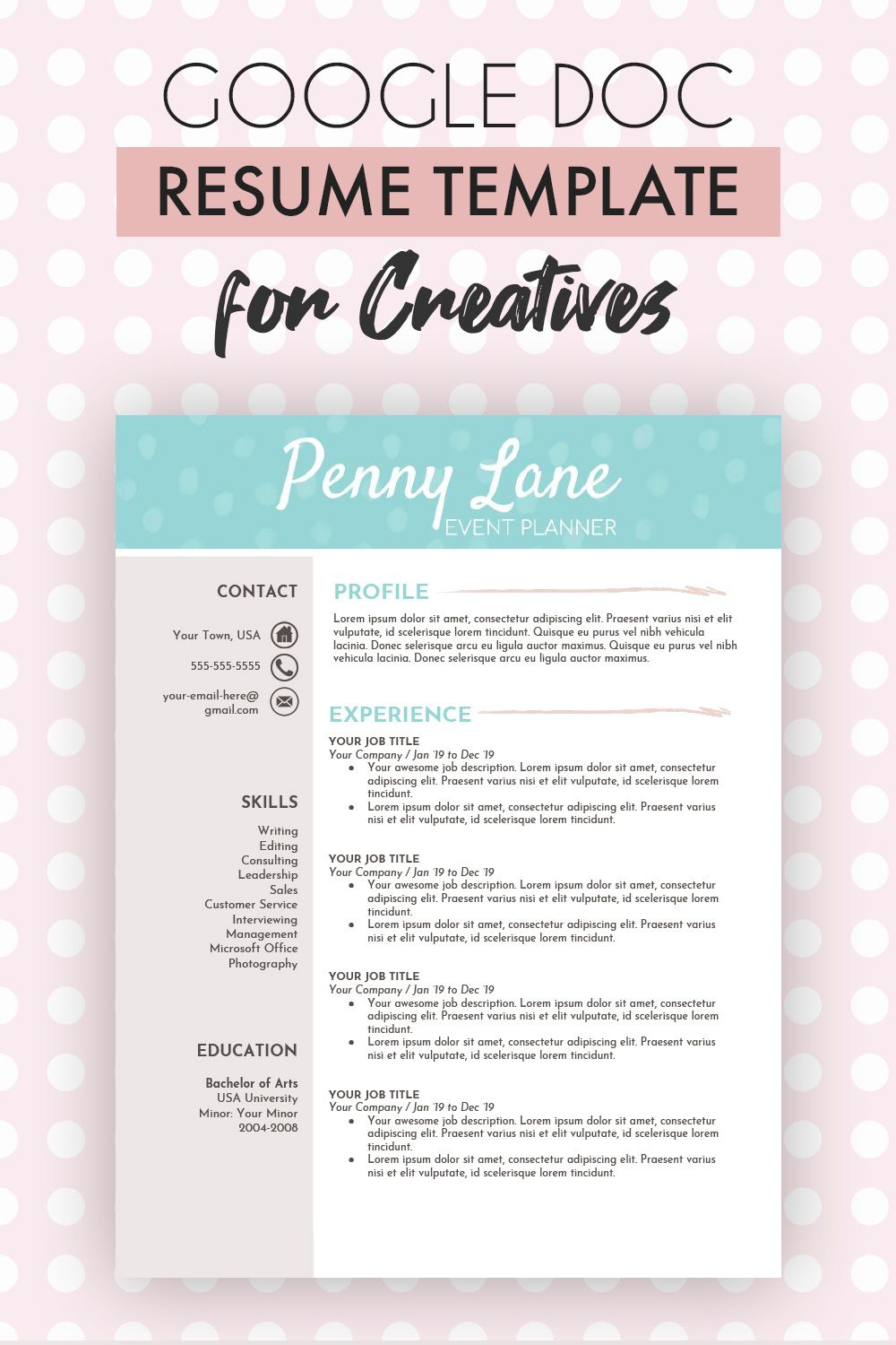 Creative Google Docs Resume Template One Page Resume Plus Cover Letter References Google Doc Resume Template Penny Resume Template One Page Resume Template One Page Resume