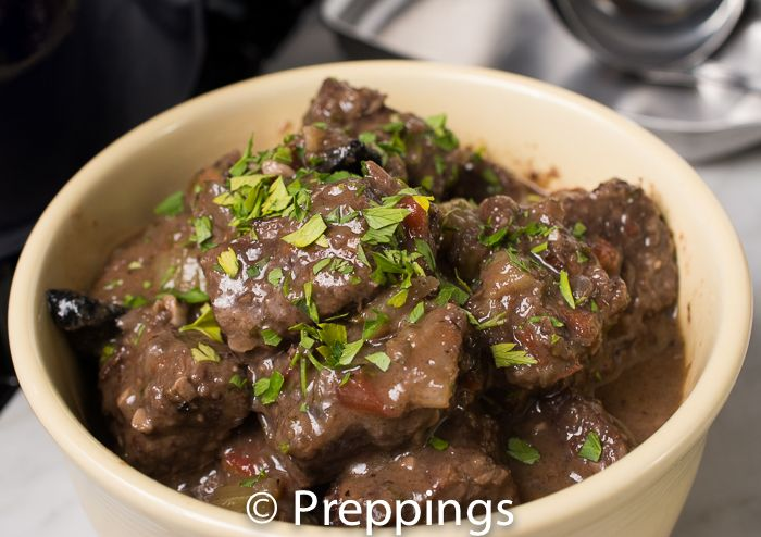 Beef Bourguignon / Beef Burgundy / Boeuf Bourguignon - Beef, Beef Stock, Bouquet Garni, Cremini Mushroom, Garlic, Mirexpoix, Red Wine :: Search alternative ingredients @ preppings.com