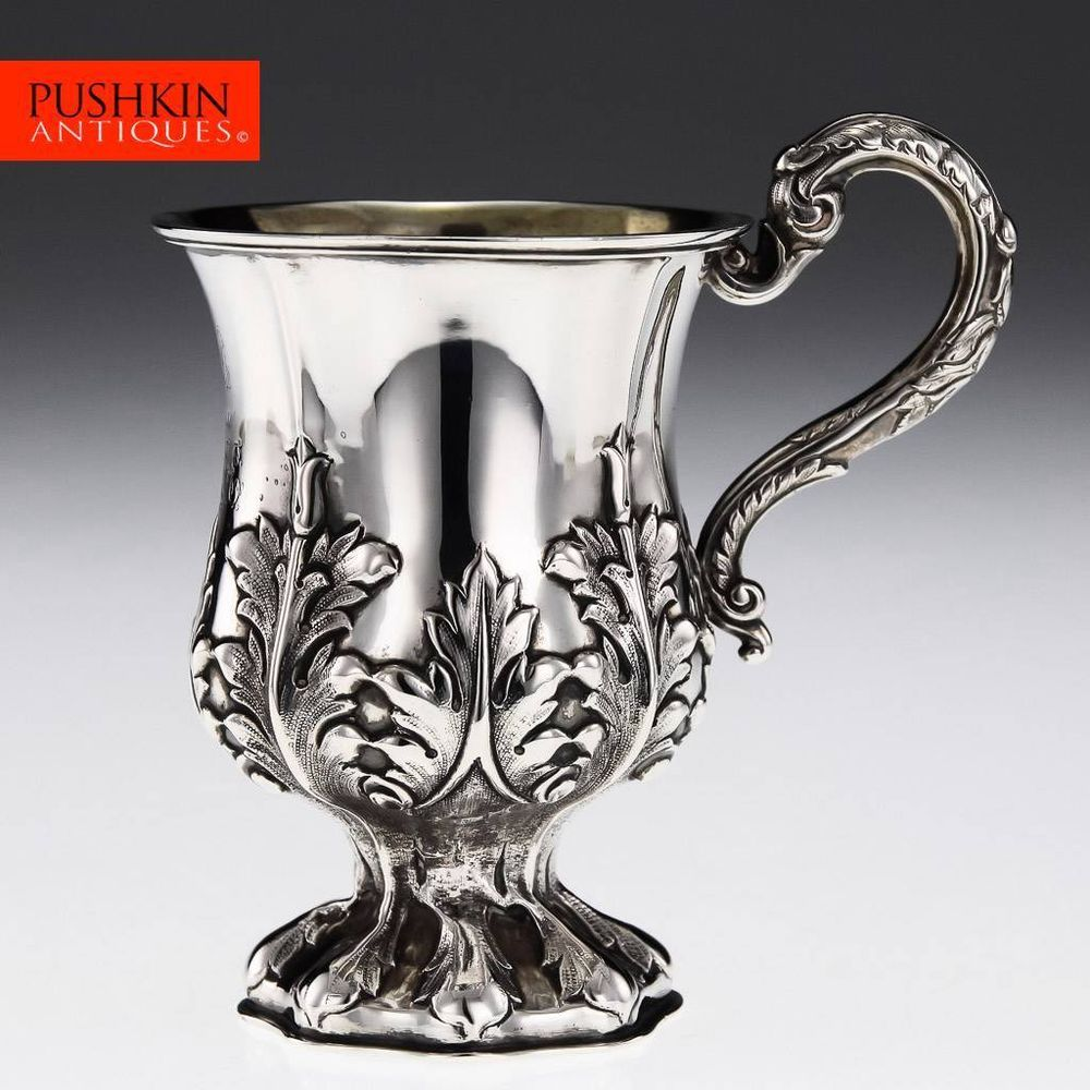 ANTIQUE 19thC INDIAN COLONIAL SOLID SILVER MUG, CHARLES & NEPHEW, CALCUTTA c1850