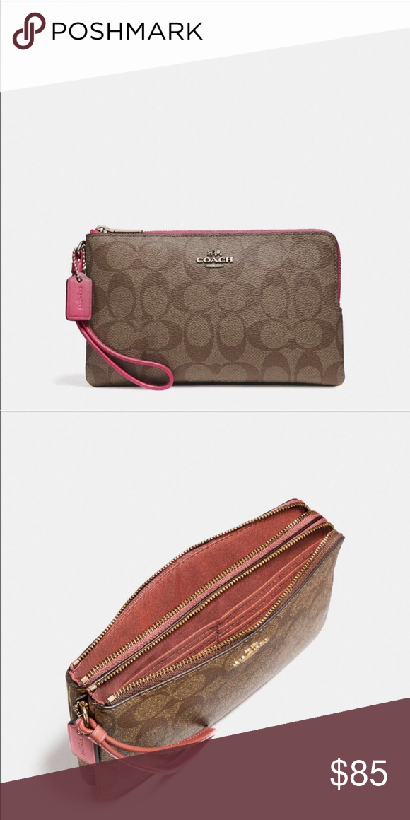 32e48a609667 Coach Double Zip Wallet Signature coated canvas Six credit card slots Full  length bill compartment Inside