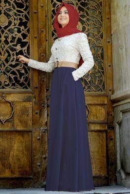 954681e03f494 Pınar Şems Tesettür Güpürlü Elbise Modelleri | kadınca | Kot ...