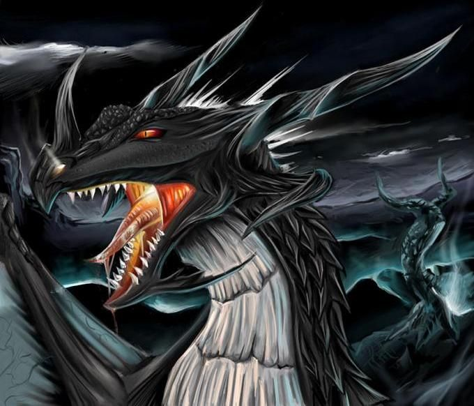 Dark Dragon Wallpaper Drachenkunst Drachen Bilder