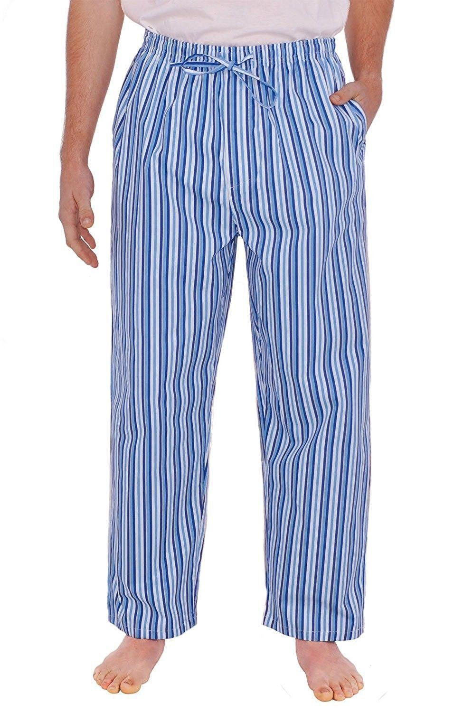 Rossa Mens Cotton Pajama Pants- Long Woven PJ Bottoms - Dark Blue ... e772aadfc