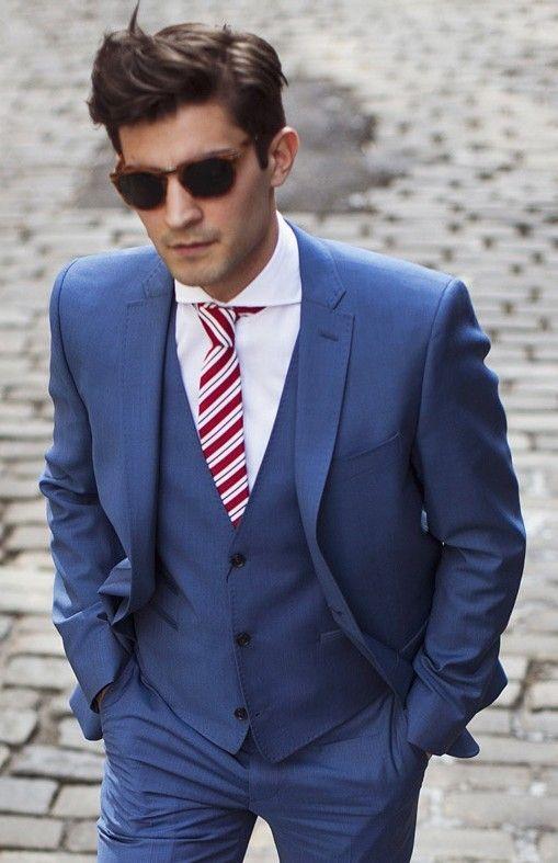 Click to Buy << Handsome 2018 dark blue custom made wedding suits ...