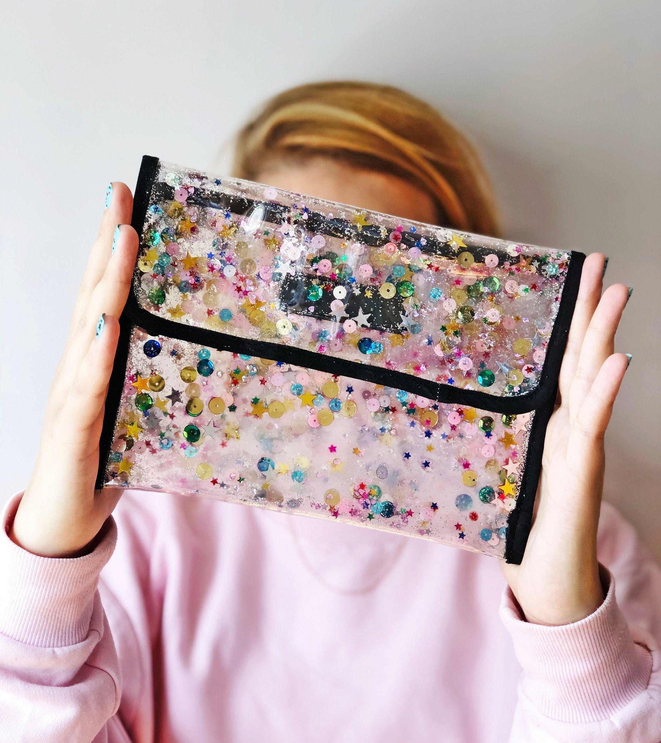Transparent Glitter Handbag, Envelope Clutch Bag, Pink