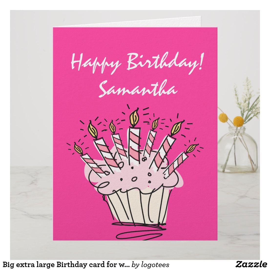 Big Extra Large Birthday Card For Women With Name Birthday Large