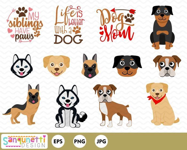 Large Breed Dog Clipart Pet Digital Art Instant Download Etsy Toy Dog Breeds Large Dog Breeds Dog Breeds
