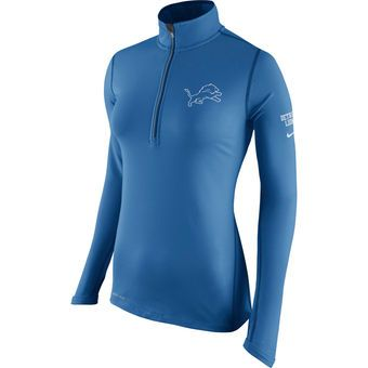 Women s Detroit Lions Nike Blue Tailgate Element Half-Zip ... 957185f3b14fc