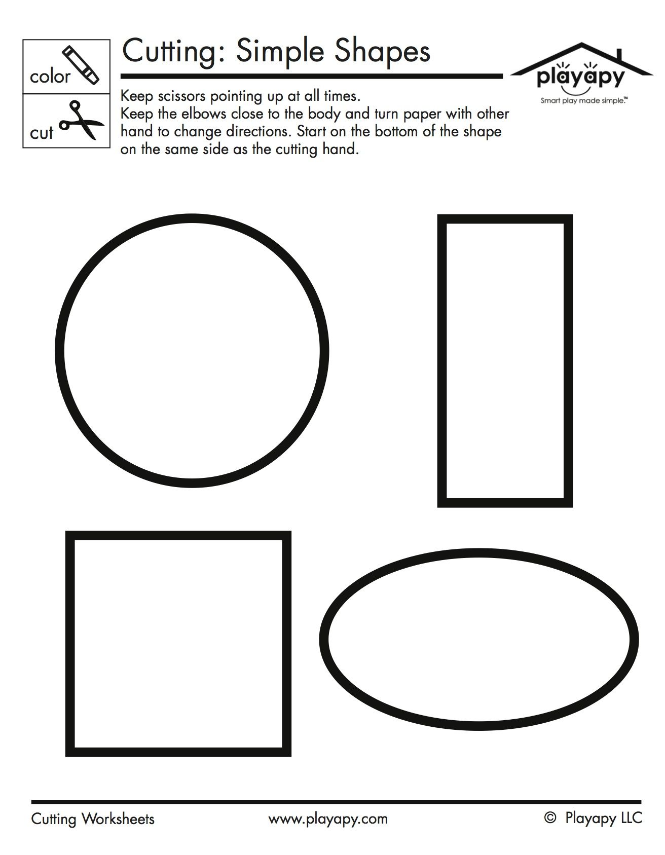 Colouring shapes activities - This Simple Worksheet Is Great For Practicing Coloring And Cutting Skills For Pre Schoolers