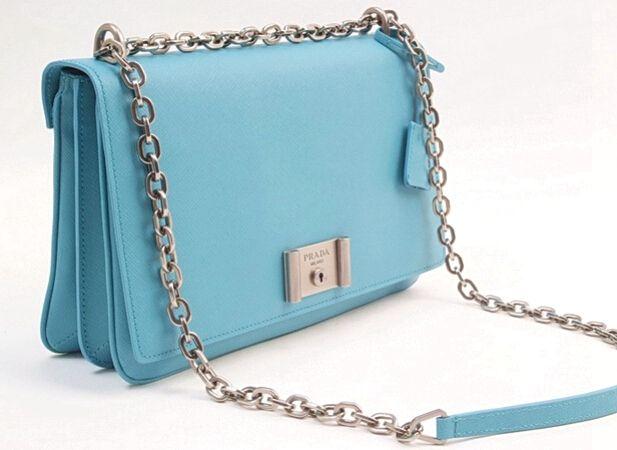 0ac801e2eeef 2016 SS Prada Saffiano leather shoulder bag with chain lake blue  #fashionhandbags
