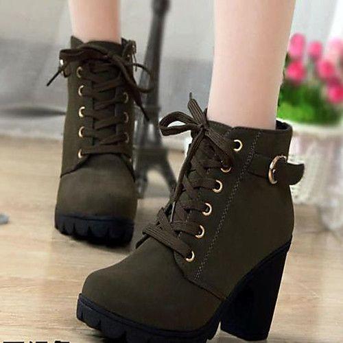 Mujer Botas Tacon Cuadrado Dedo Redondo Pu Confort Otono Invierno Amarillo Rojo Verde Eu39 Tacones Zapatos Zapatos Botines