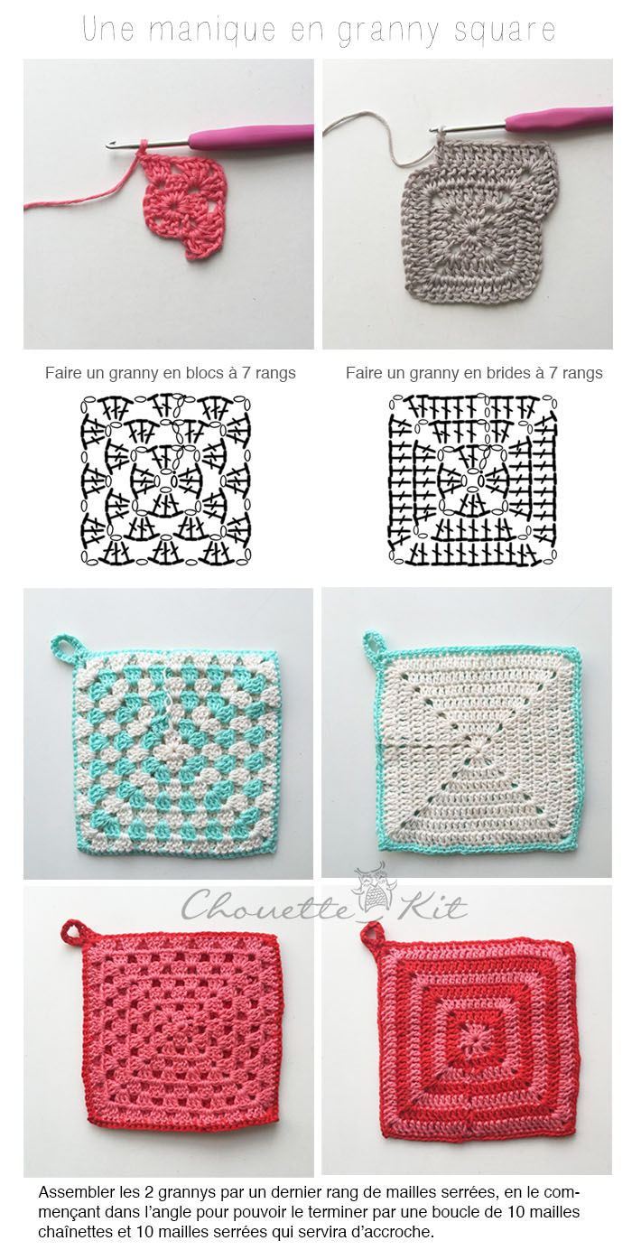 tuto manique au crochet (Chouette Kit) | Pinterest | Cuadrados ...