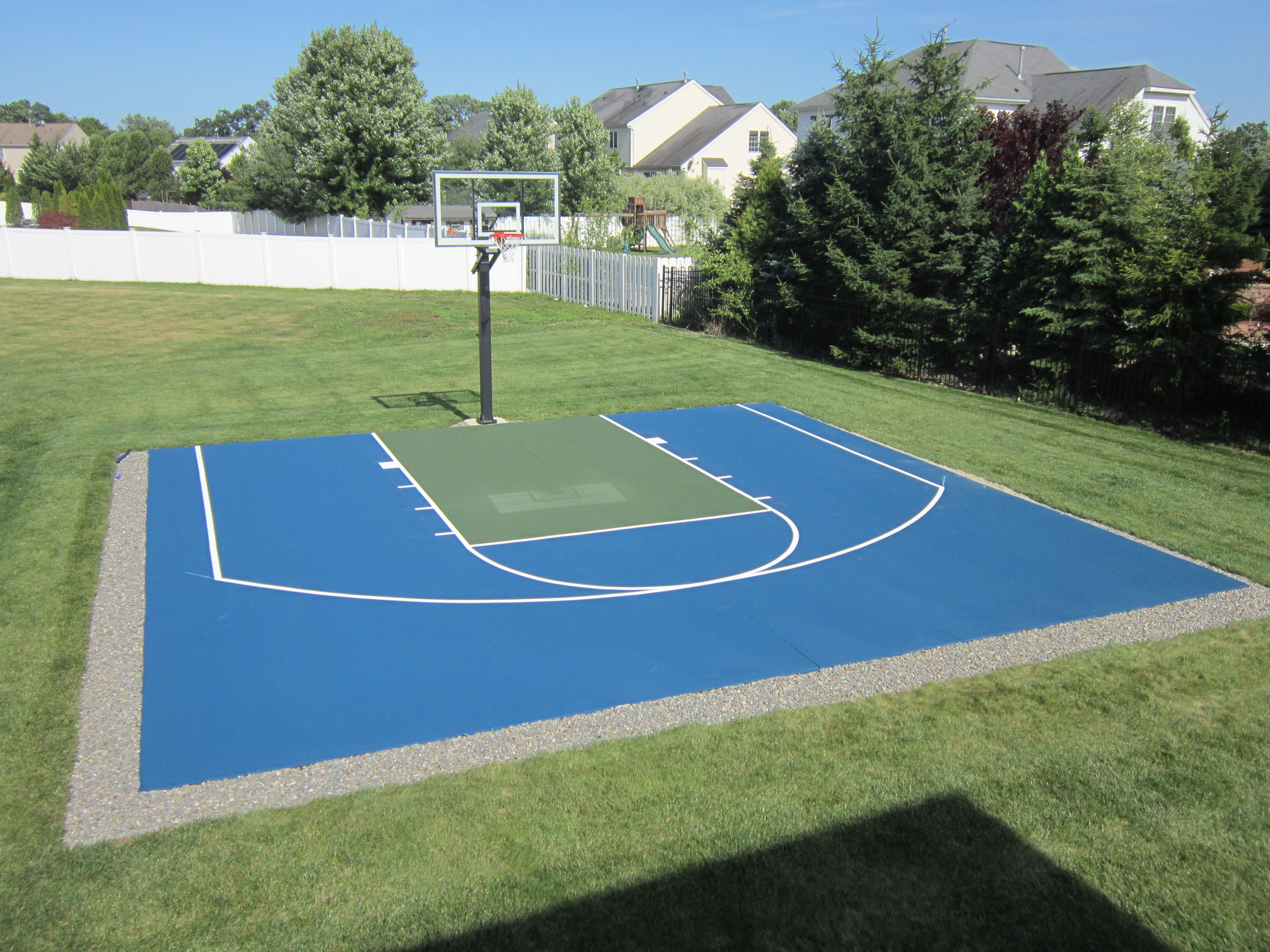 basketball court in green and blue - Home Basketball Court Design