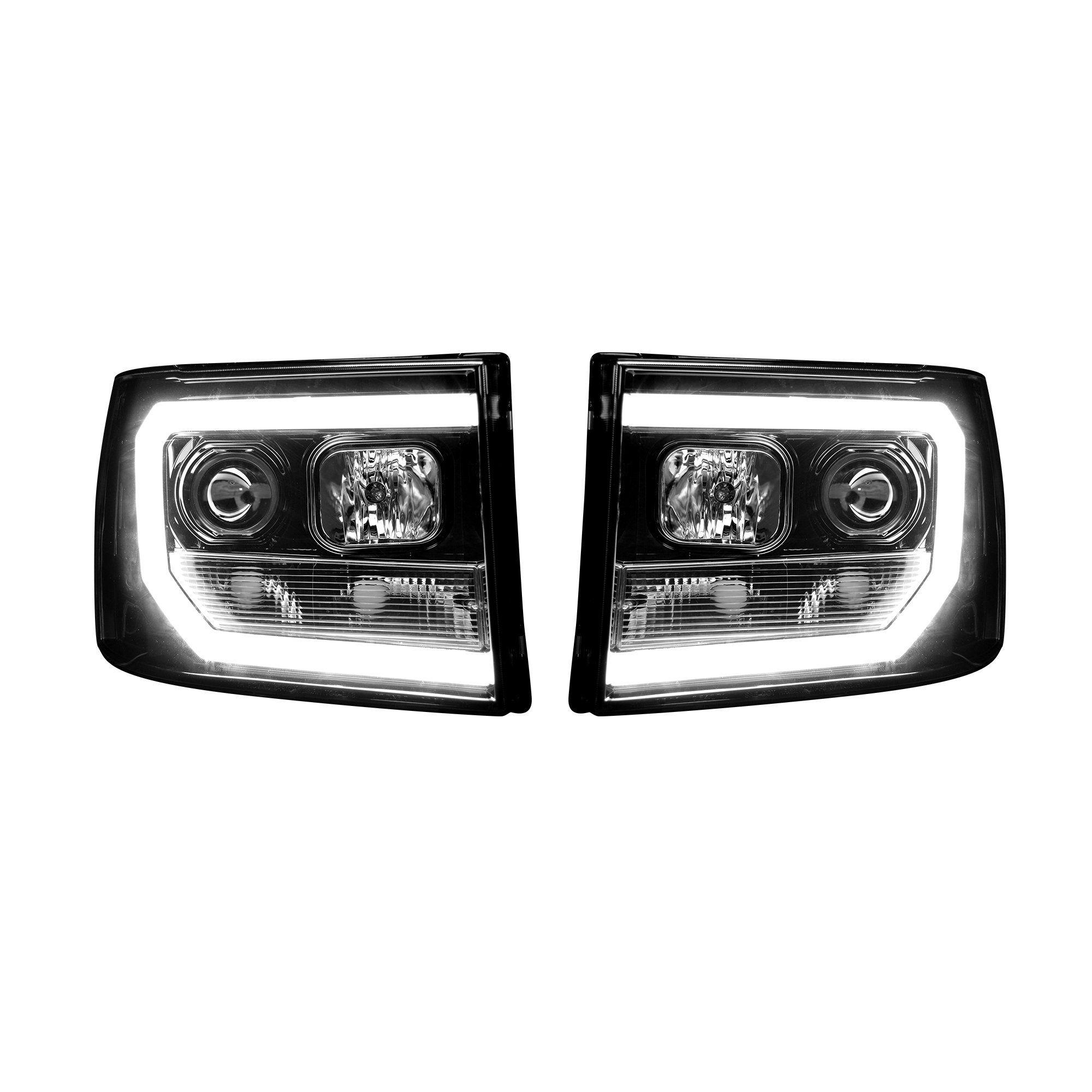 Gmc Sierra 07 13 Projector Headlights Oled Halos Drl Smoked Black Projector Headlights Gmc Sierra Truck Accessories