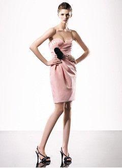 Sheath/Column Sweetheart Knee-Length Satin Homecoming Dress With Ruffle Sash