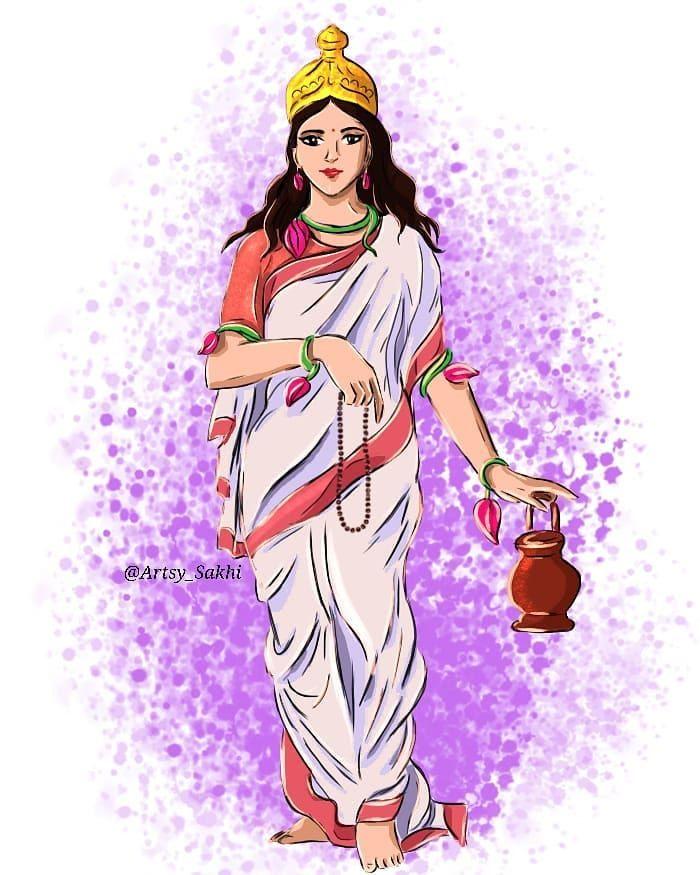 "Srishty Bhardwaj on Instagram: ""Day - 2 Mata Brahmacharini 🌸 Om Devi Brahmacharinyai Nama 🌸 🙏🙏🙏 #digitalart #instaart #artoninstagram #artoftheday #artoninstagram…"""